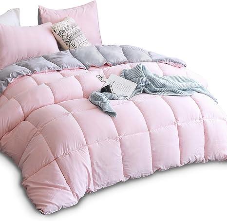 Amazon Com Kasentex All Season Down Alternative Quilted Comforter Set Reversible Ultra Soft Duvet Insert Hypoallergenic Machine Washable King Pink Potpourri Quartz Silver Home Kitchen