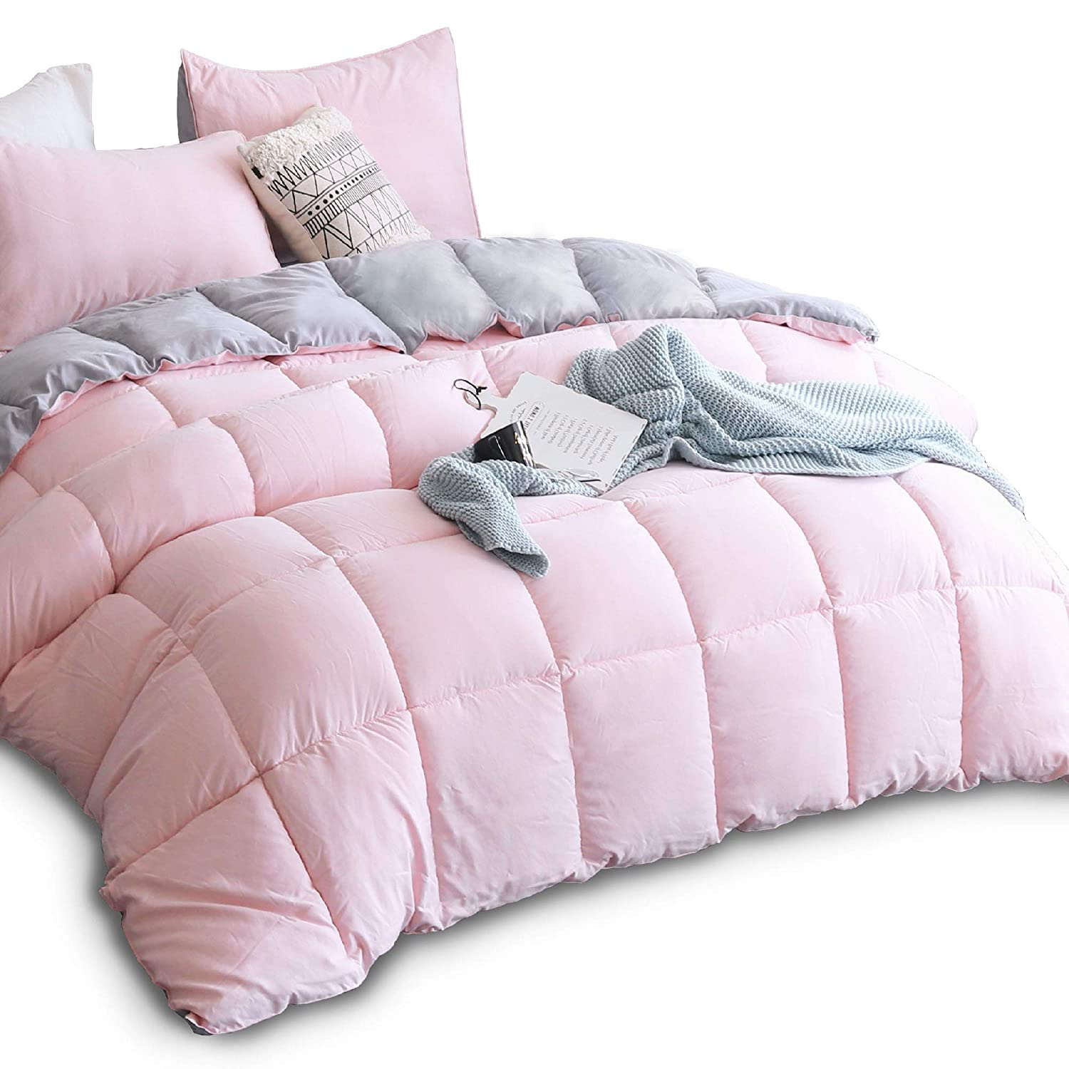 KASENTEX All Season Down Alternative Quilted Comforter Set with Sham(s) -Reversible Ultra Soft Duvet Insert Hypoallergenic Machine Washable, Twin, Pink Potpourri/Quartz Silver