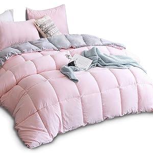 KASENTEX All Season Down Alternative Quilted Comforter Set with Sham(s) -Reversible Ultra Soft Duvet Insert Hypoallergenic Machine Washable, Twin, Pink Potpourri/Quartz Silver