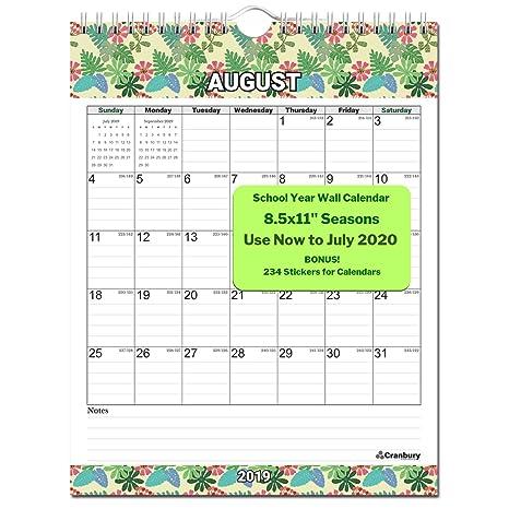 Amazon.com: Calendario de pared pequeño académico 2019-2020 ...