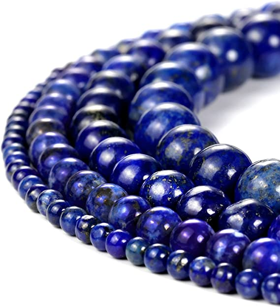 SE274 100/% Top Quality 10 Feet Rosary Beads Chain Lapis Lazuli 4-5 mm,Round /& Smooth Gold Plating