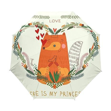 COOSUN Fox en amor Círculo automático 3 plegable del paraguas del parasol Color # 001
