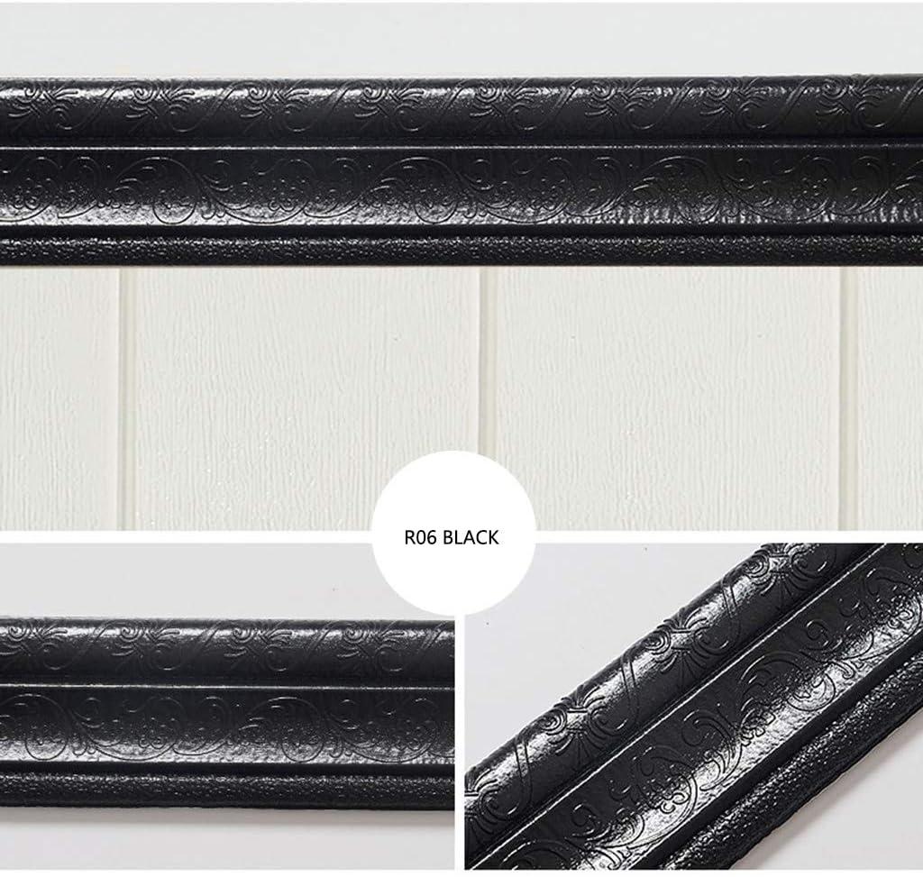 Black Boliaman 3D Waterproof Wallpaper Border Peel and Stick Wall Border Foam Mirror Borders Removable Self Adhesive Tiles Stickers for Kitchen Bathroom 7.55 feet Long x 0.26 feet high