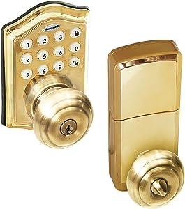 Honeywell Safes & Door Locks - 8732001 Electronic Entry Knob Door Lock, Polished Brass