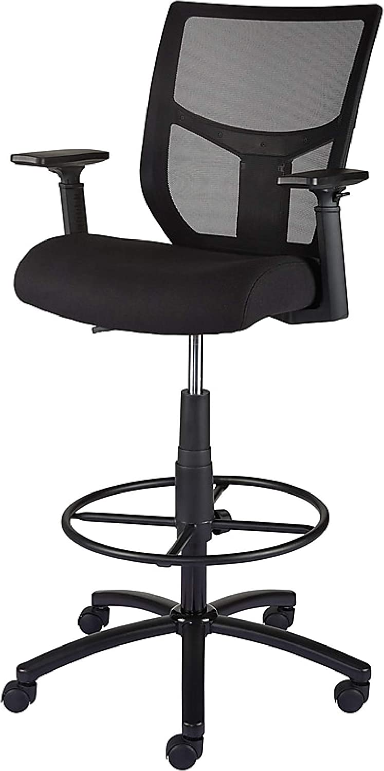 Staples Cabal Mesh and Fabric Stool (Black, Sold as 1 Each) - Adjustable Office Stool with Breathable Mesh Back and Plush Fabric Seat, Perfect Desk Chair for The Modern Office