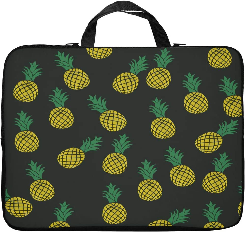 Britimes Laptop Case 15.6 inch, Colorful Pineapple Cute Tropical Fruit Black Yellow Fresh Plant Neoprene PC Computer Sleeve Waterproof Notebook Handle Carrying Bag