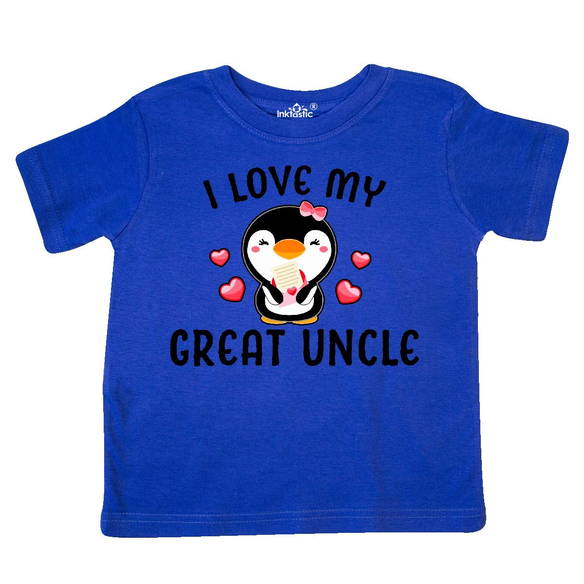 inktastic I Love My Great Uncle with Cute Penguin and Hearts Toddler T-Shirt