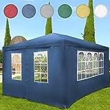 Miadomodo - Pavillon de jardin avec parois amovibles - Tonnelle de jardin 4 x 3 m - Tente de réception - Bleu