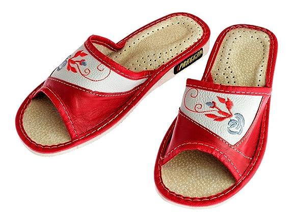 Pelle Apreggio Suola Pantofole da Confortevole in Gomma Donna WBBCqn4wS7