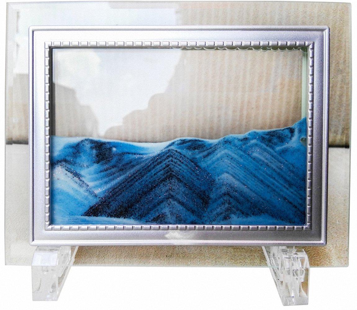 "YayaCat Deep Sea Moving Sand Art Picture Sandscapes in Motion Office Desktop Art Decor Toys Mini Size Blue (7""×5"")"