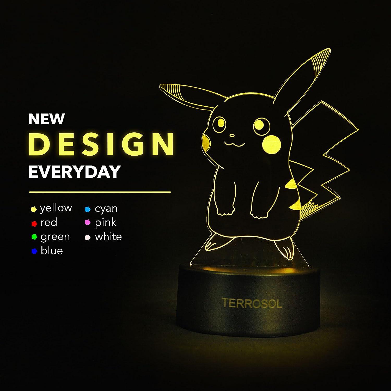 Terrosol Pokemon Pikachu 3D Night Light - Pokemon Gifts - 3D Led Lamp - Acrylic Lamp - 3D Pokemon Pikachu - Optical Illusion Led Light