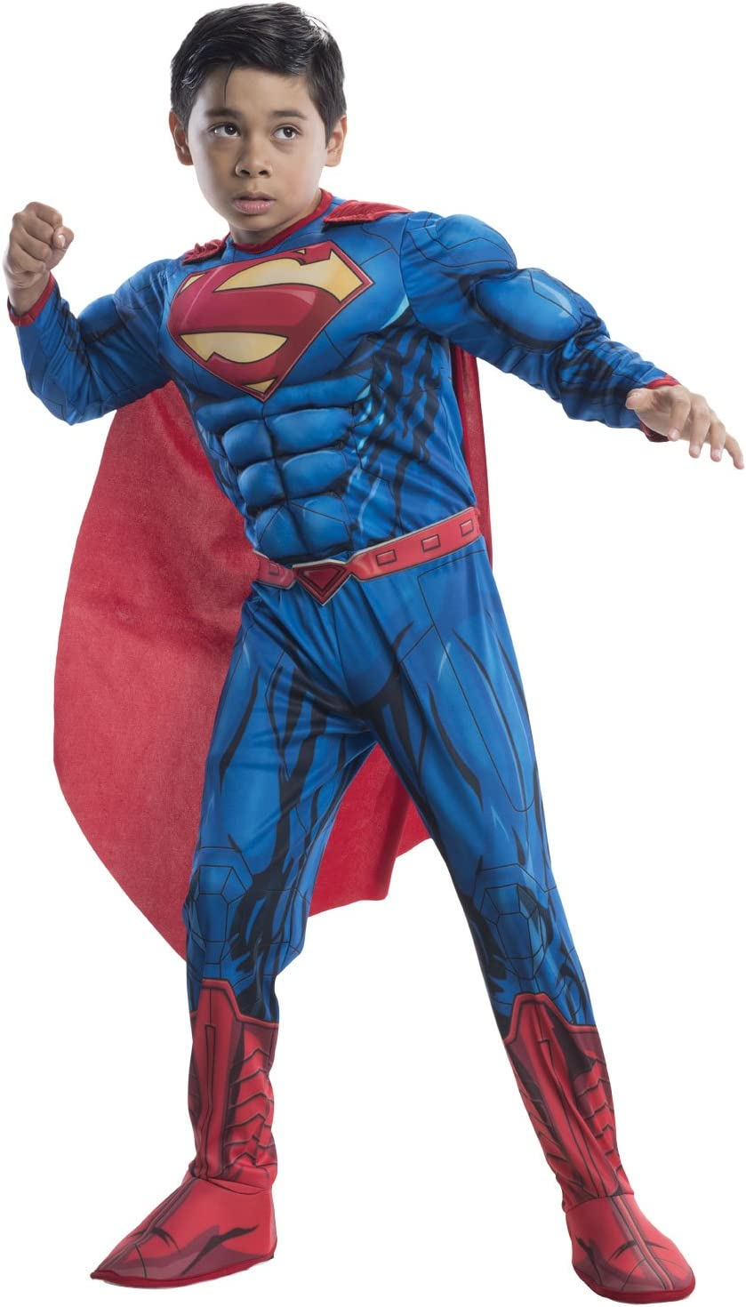 Rubies DC Comics Deluxe Muscle-Chest Superman Costume, Medium (8-10)