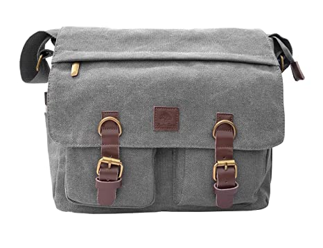 f7f0cb4960 Image Unavailable. Image not available for. Color  Rustic Town 14 quot  Men s  Messenger Bag Vintage Canvas Leather Military Shoulder Laptop ...