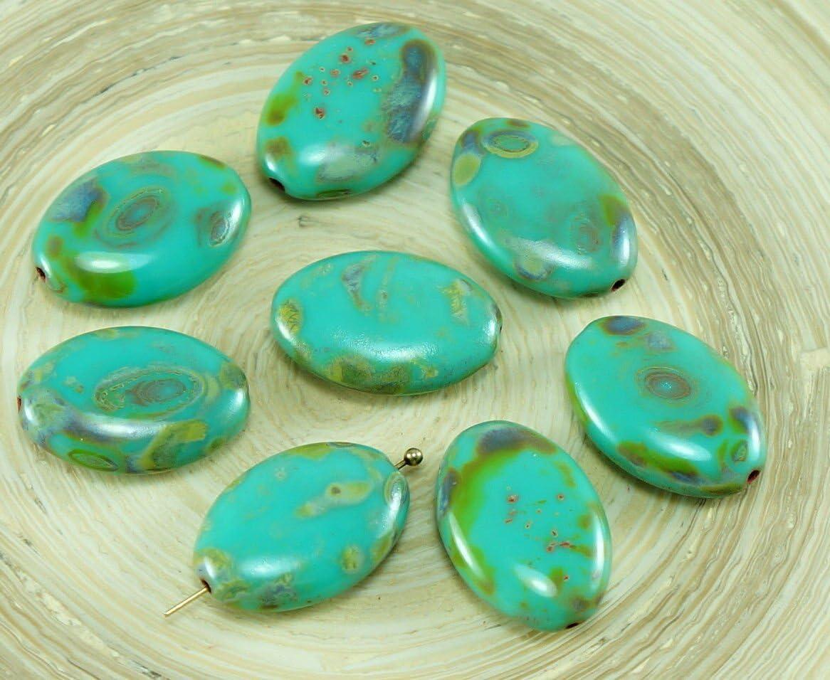 4pcs Gran Picasso Turquesa, Verde, Cristal checo Plana y Ovalada Perlas de 20 mm x 14mm