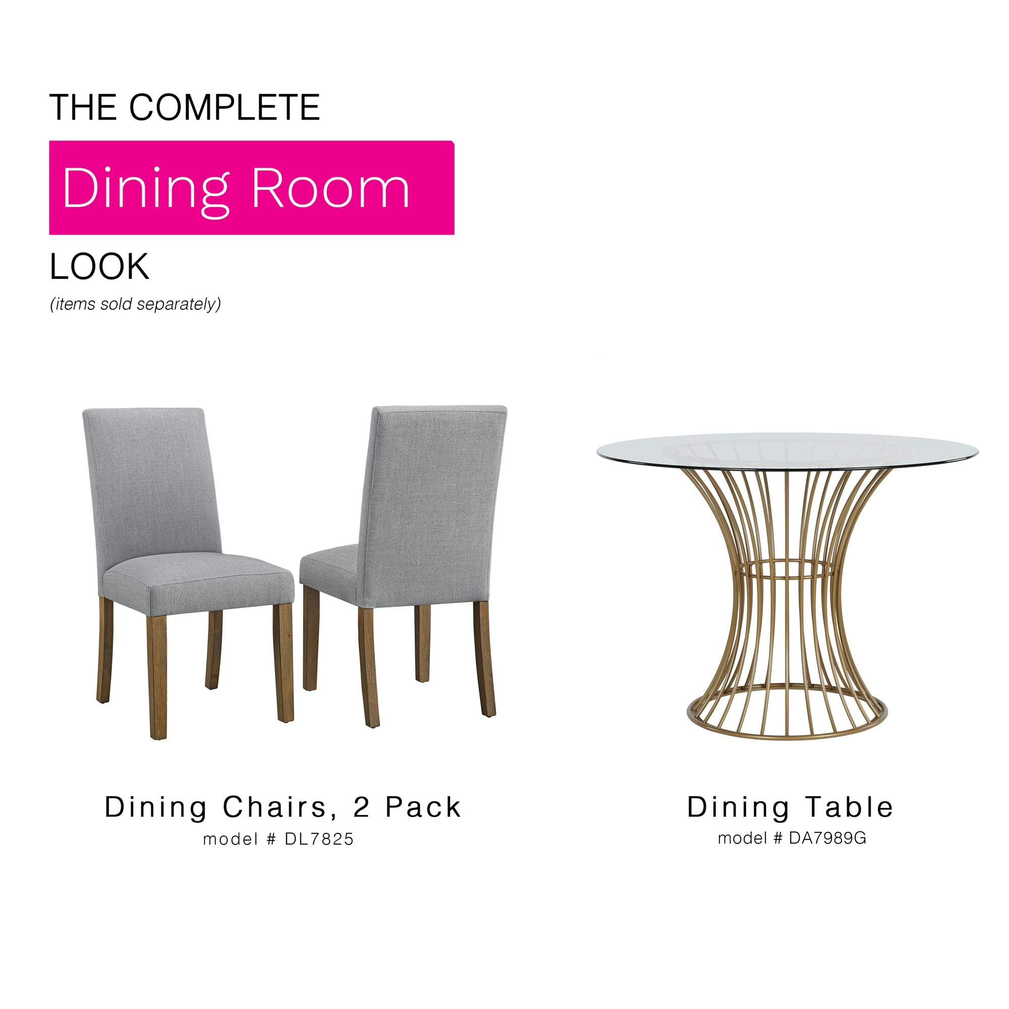 CosmoLiving Westwood Modern Clear Tempered Glass Round Top Dining Table with Hourglass Gold Base - Brass by CosmoLiving by Cosmopolitan (Image #6)