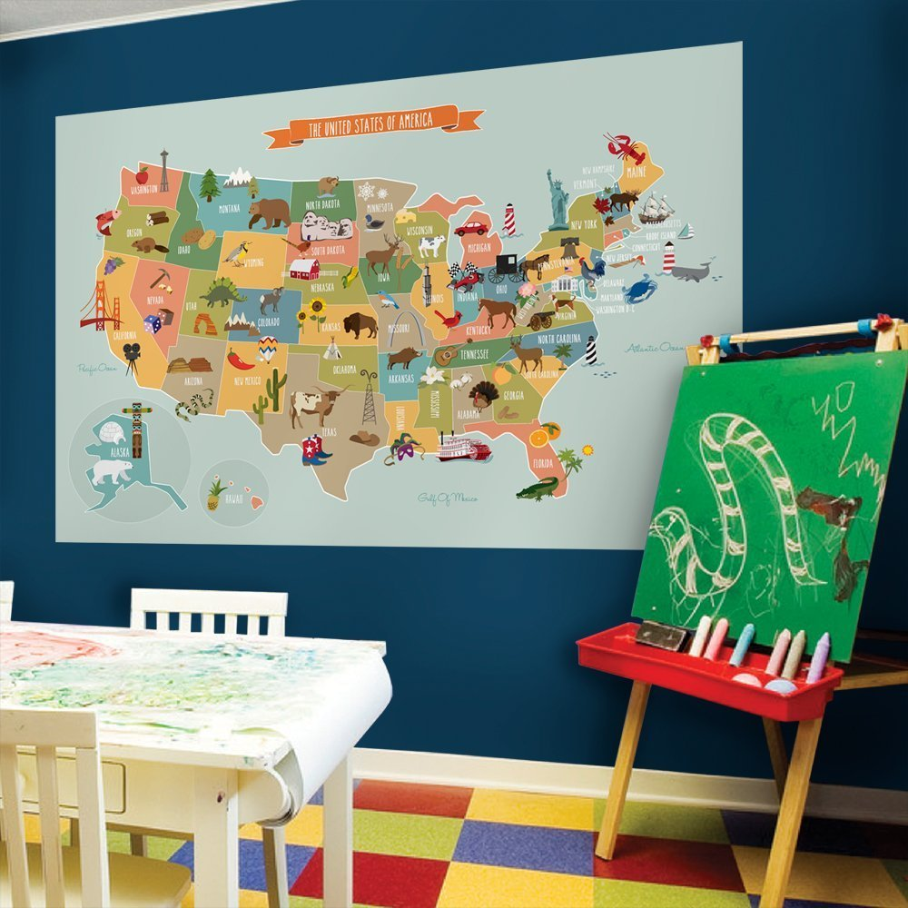 Kids USA Map Poster Wall Sticker Illustrated Children's USA Map (Large - 72'' w x 48'' h) - by Simple Shapes