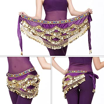 Dioche Danza del Vientre Cinturón, Cinturón de Danza Oriental Belly Dance Cinturón de Lentejuelas con 328 Piezas de Oro(Púrpura): Amazon.es: Deportes y aire ...