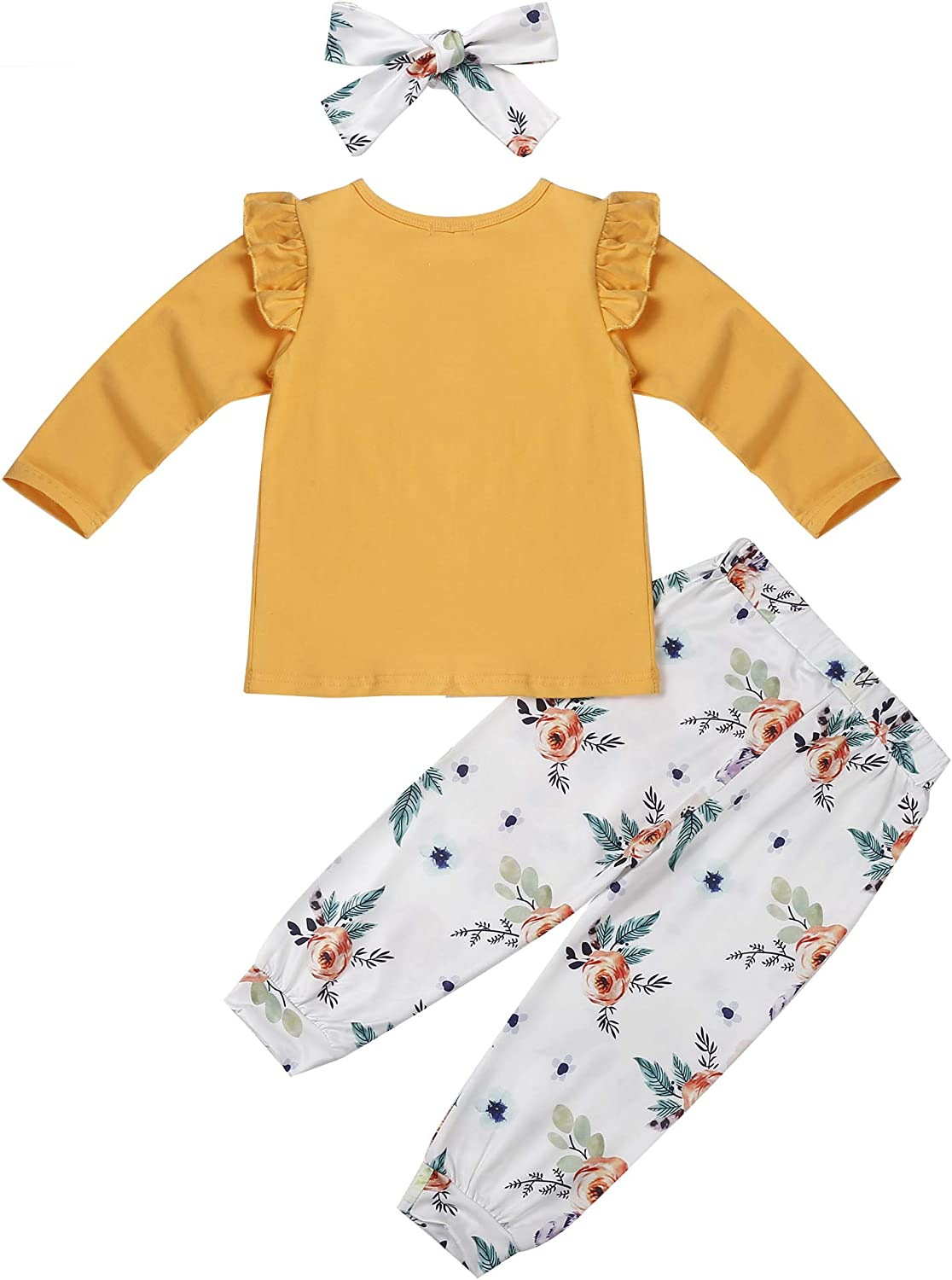 Edjude Newborn Baby Girls Romper Clothes Set Toddler Long Sleeves Bodysuit Floral Legging Pants Birthday Outfits
