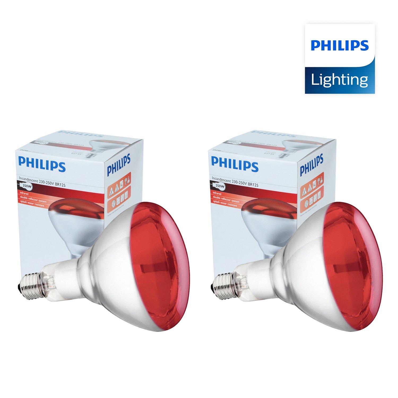 2 x Infrarrojos Bombilla para Estufa de infrarrojos - 250W 230-250V (E27) - Emite Calor - Luz Roja [ PACK ]: Amazon.es: Industria, empresas y ciencia