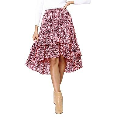 326e584305 Women's Fishtail Skirts Sexy Casual Party Printing High Waist Hip Irregular  Hem Long Skirt (S