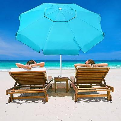 Abba Patio 7 Feet Beach Umbrella with Sand Anchor, Push Button Tilt and Carry Bag, Adjustable Height Fiberglass Rib Patio Umbrella, Turquoise : Garden & Outdoor