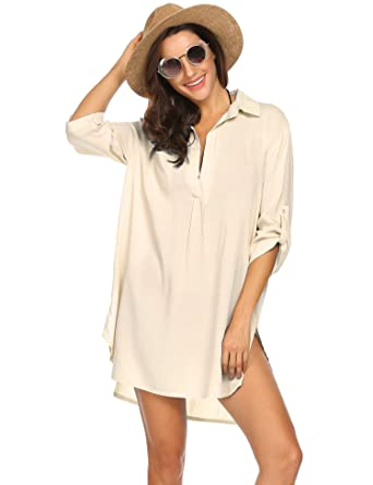 b3480d06c6 Ekouaer Boyfriend Beach Shirt Fashion V-Neck Cotton Beach Top/Swimsuit  Cover up Beige