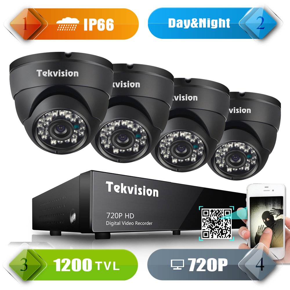 Tekvision 8CH 720P HD DVR Security Camera System Surveillance Kit -4 Pack 720P HD IR-Cut Indoor / Room/Drive way Dome Camera-High Resolution CCTV Metal Dome Cameras, No HDD Hard Drive by Tekvision