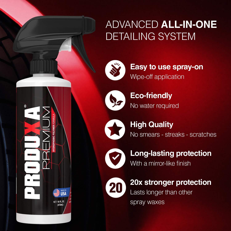 PRODUXA Premium Super Gloss & Ultra Hydrophobic Shine Spray: Revolutionary Paint Polish & Sealer | Multi-Surface Top Coat for Car, Bike & Boat | Applies in Minutes, Long Lasting & Streak-Free | 2 KIT by PRODUXA (Image #2)