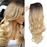 ForQueens Ombre Long Curly Wig 2 Tone Black to Blond Synthetic Party Wigs for Women Middle Part Full Wigs with Heat Resistant Fiber Cosplay Wigs
