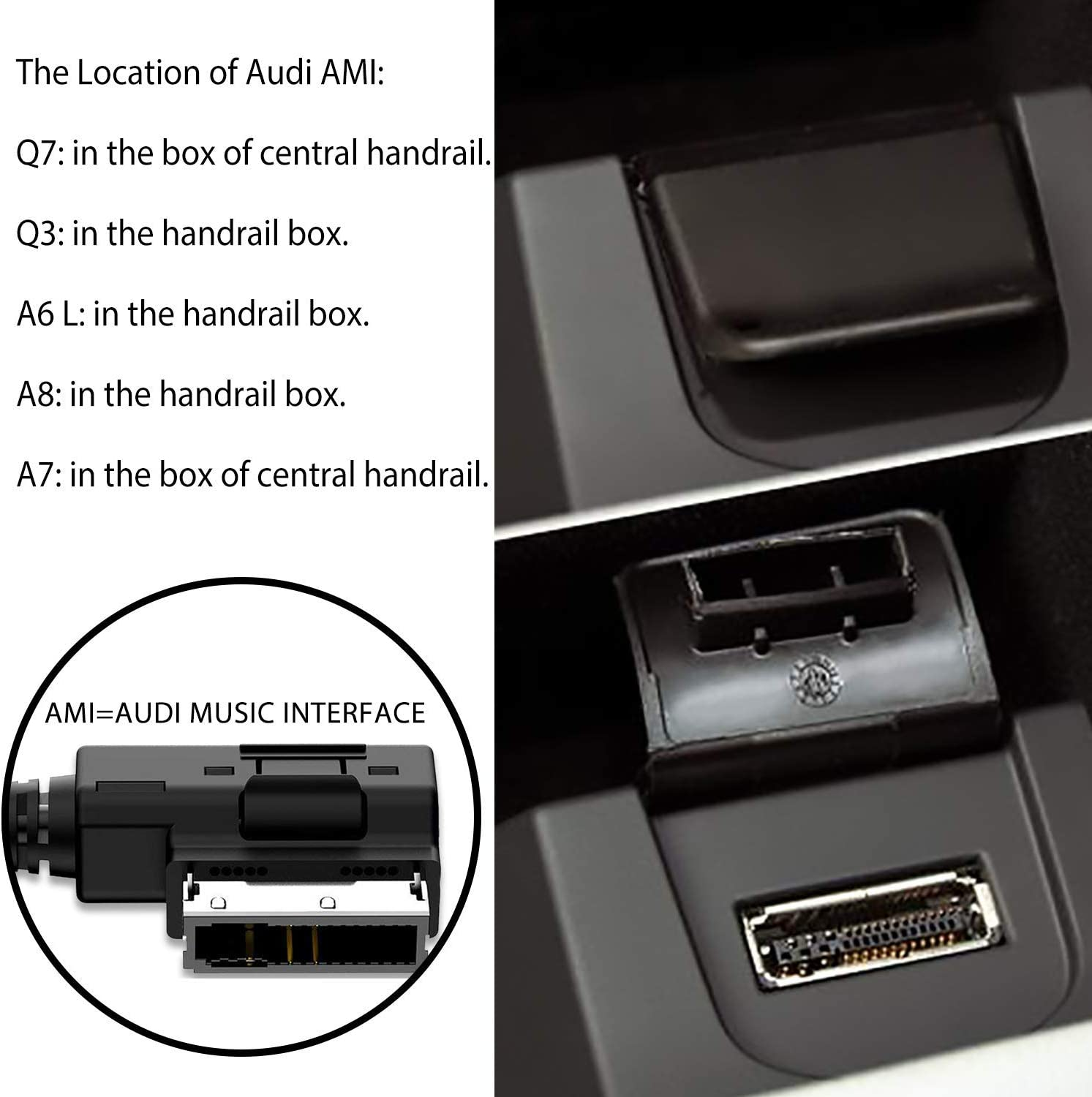2008-2016 Audio Accessories Lead USB Car Charg-er Adatper Compatible for IP 11 X i8 i7 for Audi A3 A4 A5 A6 S4 S6 A7 Q3 Q5 Q7 A8 TT AMI Music Interface Cable for MMI 2G 3G RMC MIB