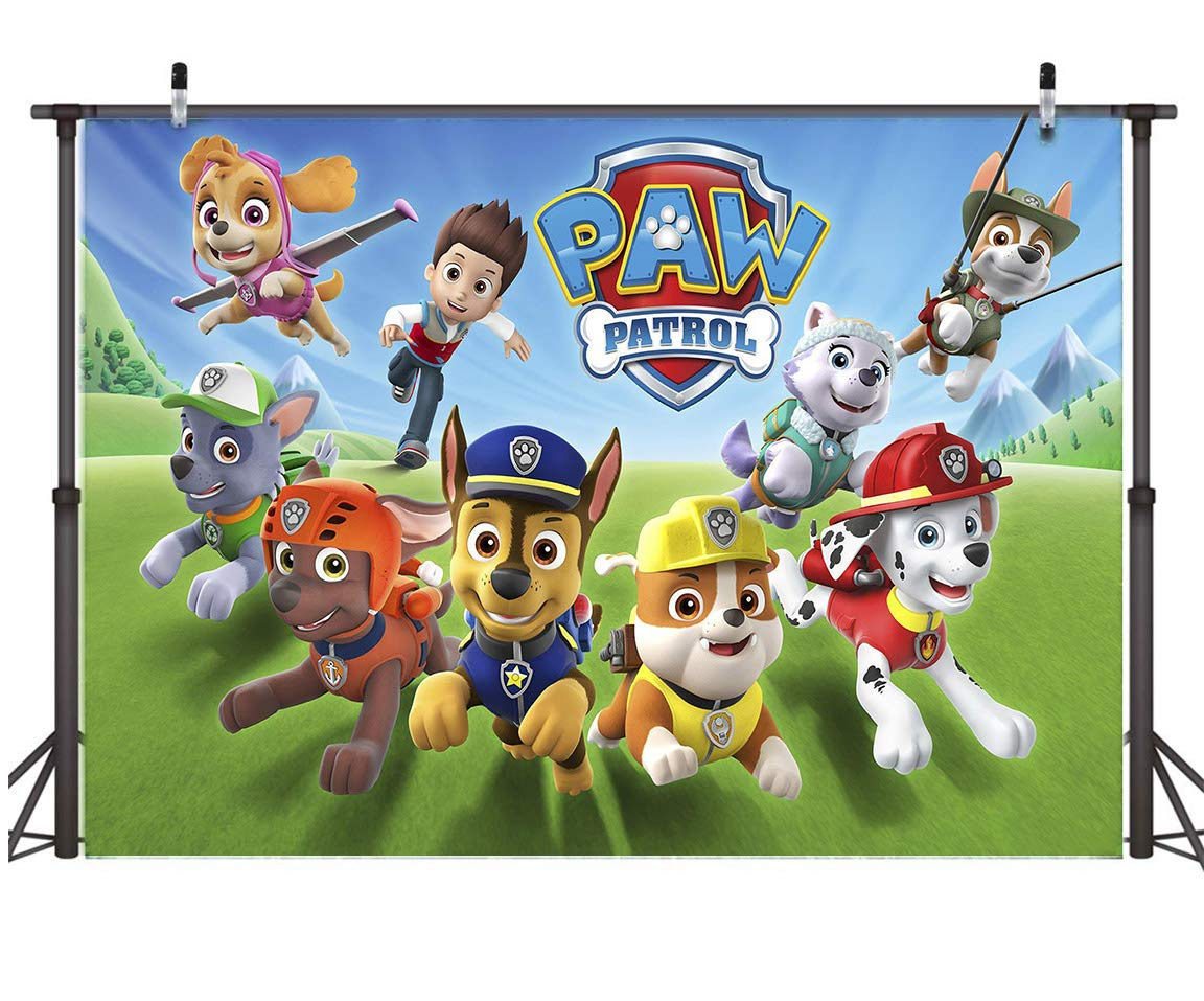 TJ 7X5FT Cartoon Paw Patrol Theme Photo Backdrops Kids Baby Shower Birthday Party Decotation Photography Background Cake Table Decor Banner Kids Studio Booth Props Vinyl by Tangjie (Image #4)