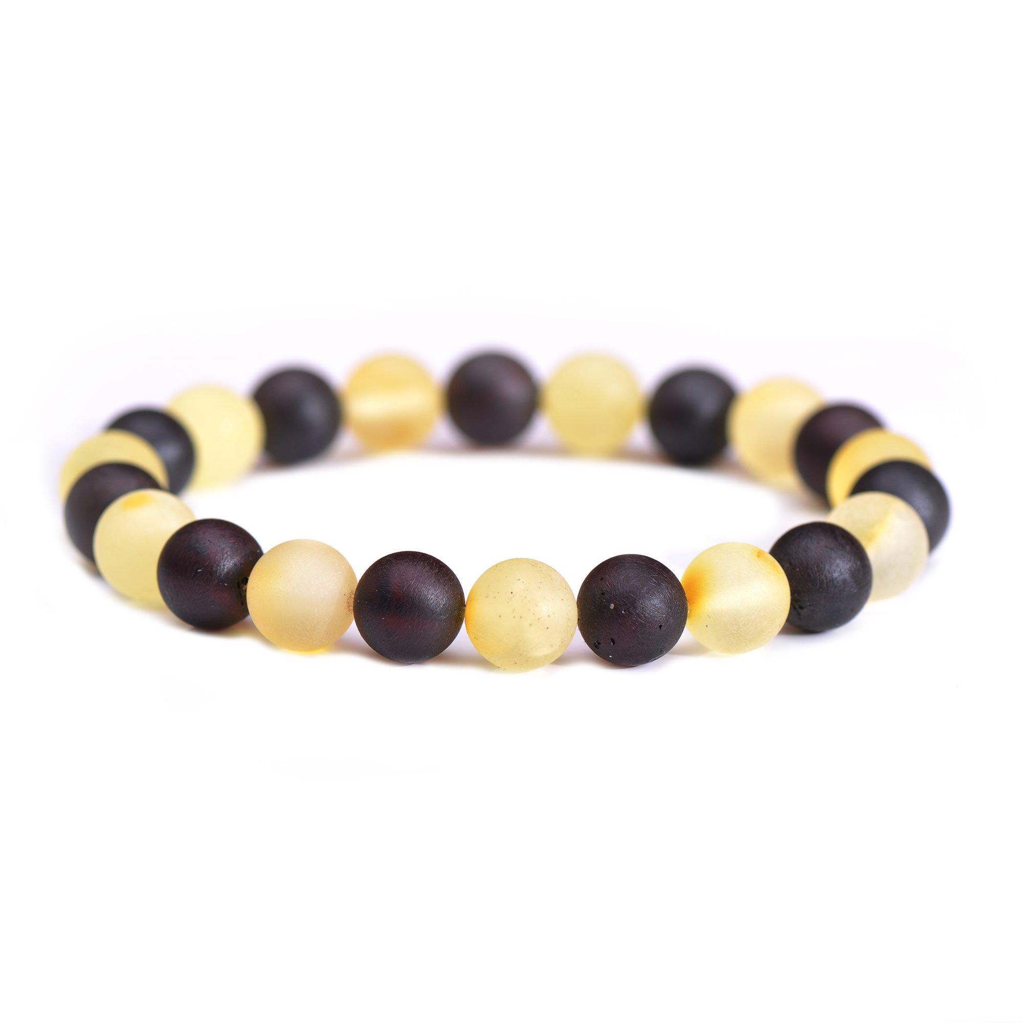 Raw Amber Bracelet for Woman Round Beads - Amber Bracelet for Men - Round Beads Amber Bracelet - Certified Handmade Baltic Amber Bracelet