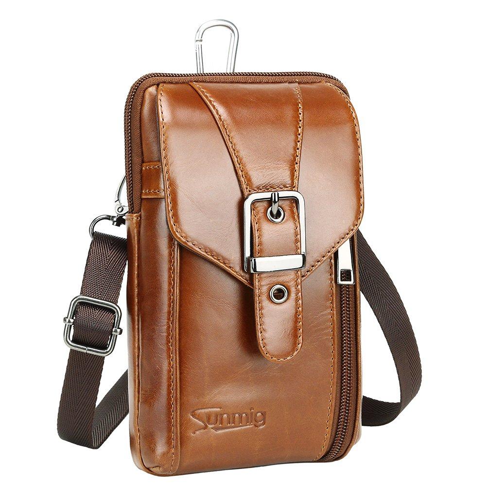 Sunmig Genuine Leather Men Small Messenger Shoulder Bag Crossbody Belt Pouch 9302