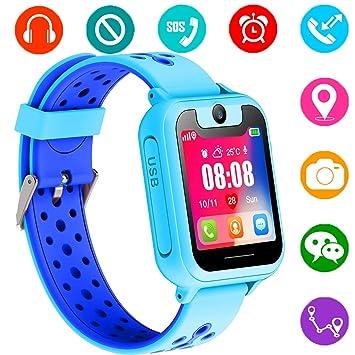 Reloj Inteligente para Niños, GPS/LBS para Niños Cumpleaños Presente Cámara SIM Llamadas Toque HD Pantalla Anti-pérdida SOS Despertador Smartwatch ...