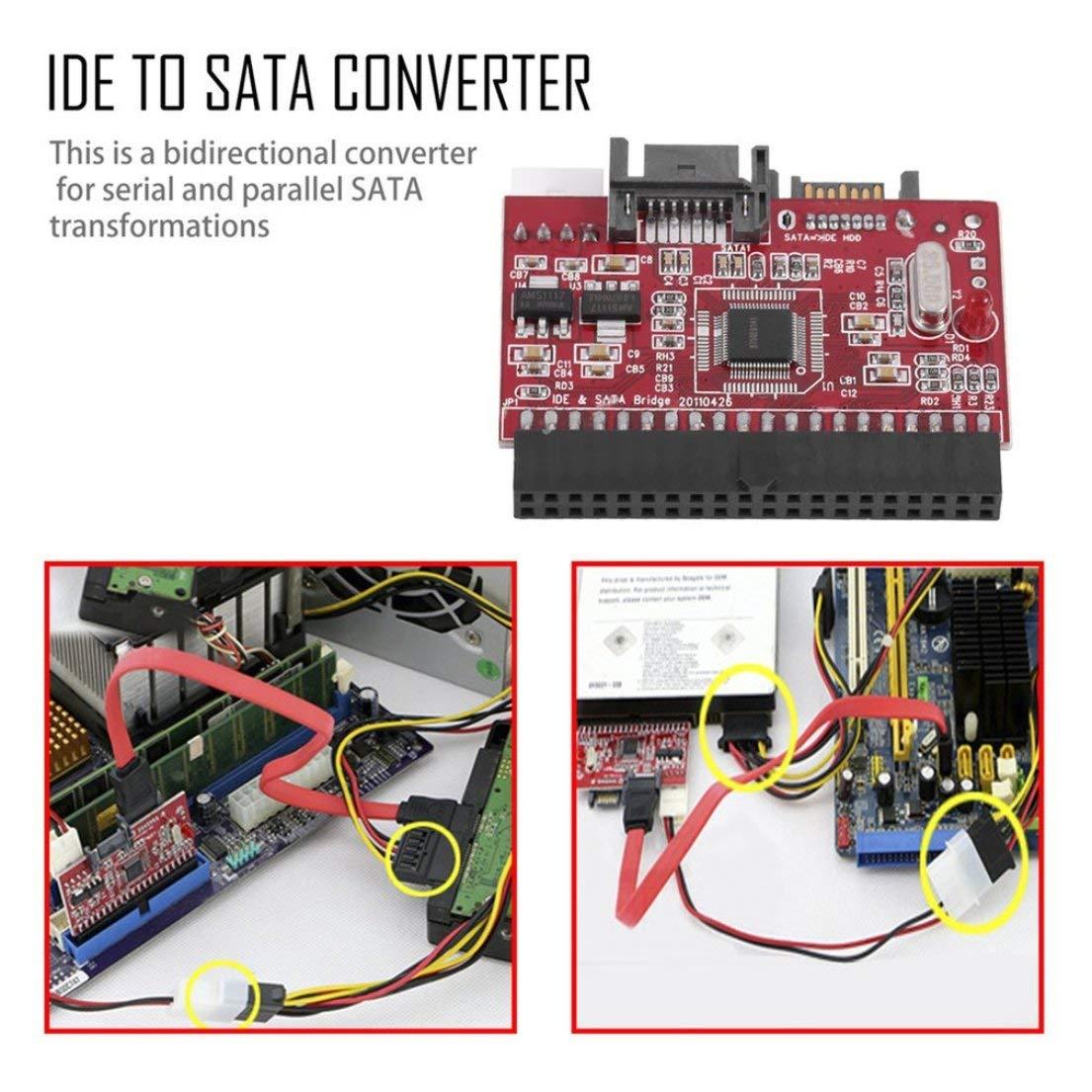 DFHJSXDFRGHXFGH-ES Rojo Ligero Durable IDE HDD a SATA Serial ATA Convertidor Adaptador de Disco Duro Compatibilidad con el Controlador para ATA 133 100 HDD CD AdapterRed
