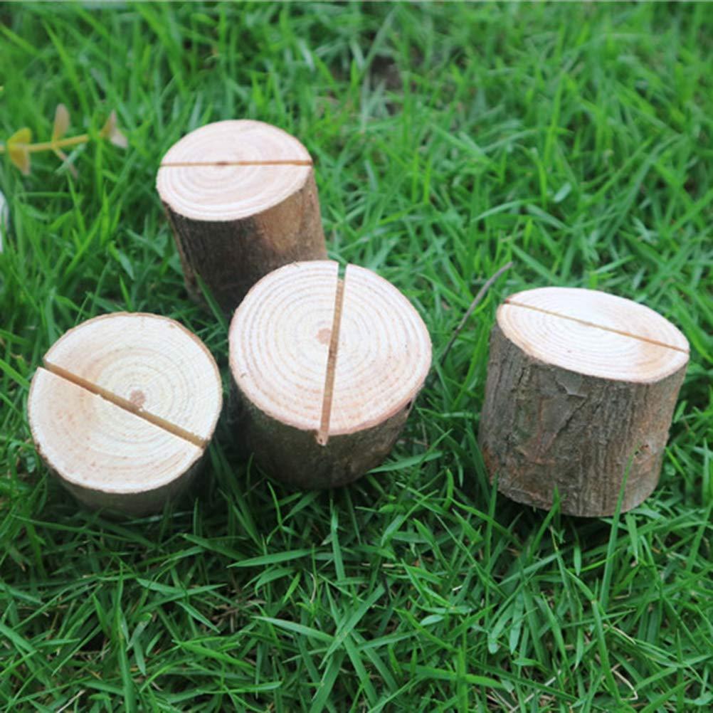 Yardwe Name Kartenhalter Holz Pile Retro Bark ID Karte Holz Pile Clamp Hochzeit Dekorationen Ornamente mit Trockenmittel 12 PCS