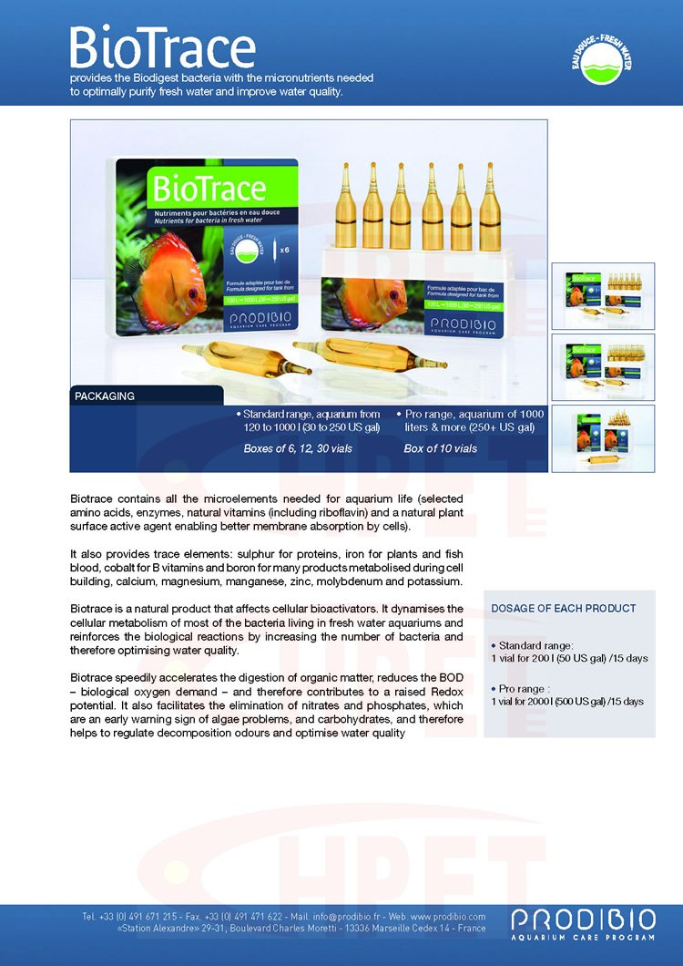 prodibio Biotrace nutrientes para las bacterias en agua ...