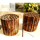 Stool for Living Room/Wooden Stool Made by Hand Cut logs of Wood Natural Feel Set of 2 pcs