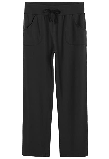 Latuza Women's Cotton Lounge Pants, Black, Medium