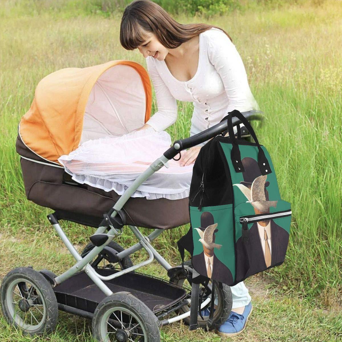 gran capacidad elegante y duradera Bolsa de pa/ñales multifunci/ón Rene Magritte Mania para el cuidado del beb/é resistente al agua