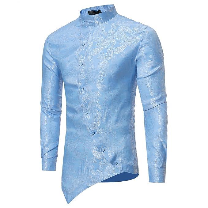 a96cf0483d Camicie a Maniche Lunghe da Uomo Camicia a Manica Lunga Slim Fit Camicia  Steampunk Abbottonatura Camicie