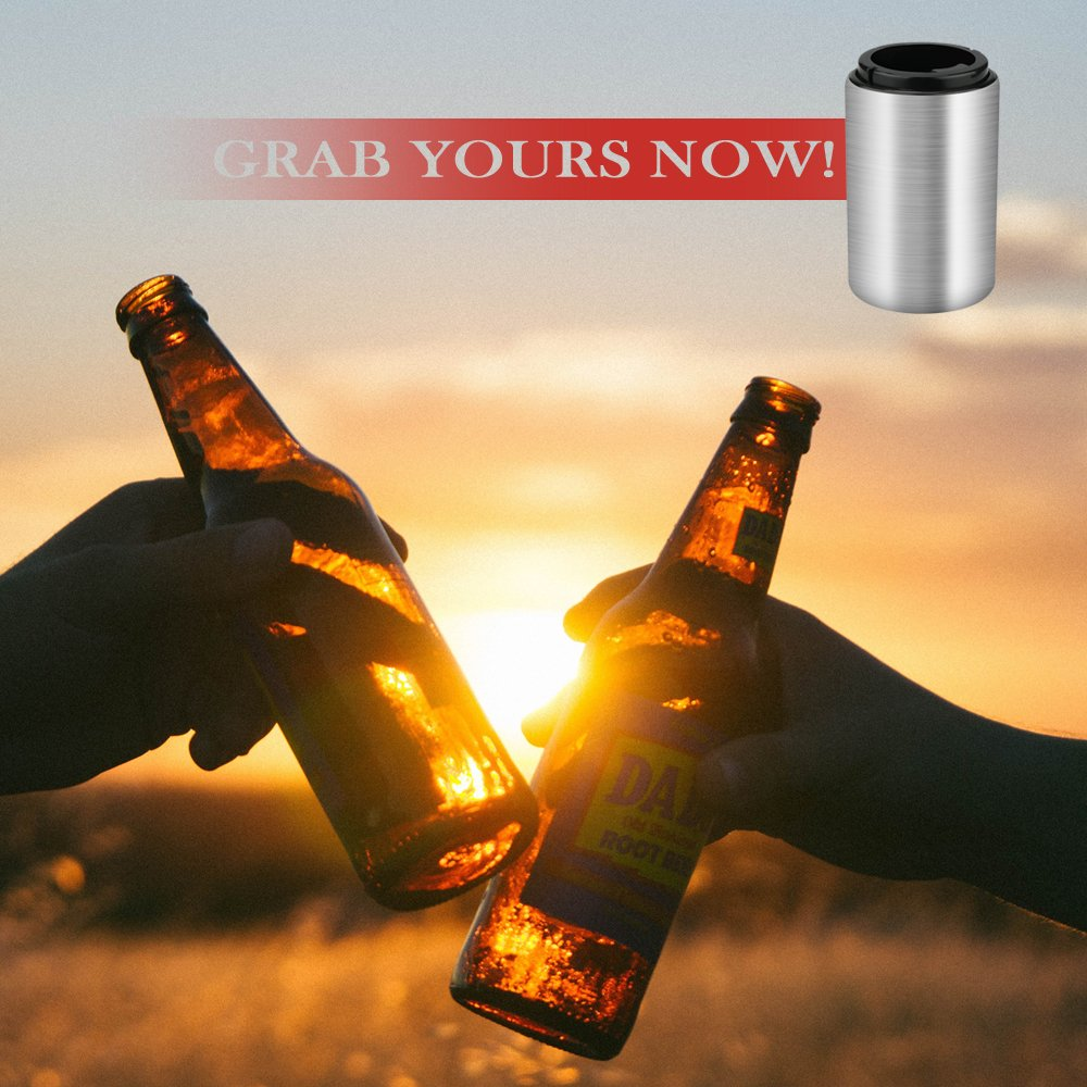 Beer Bottle Opener,ONSON Stainless Steel Automatic Bottle Opener with Magnetic Cap Catcher,No Cap Can Escape