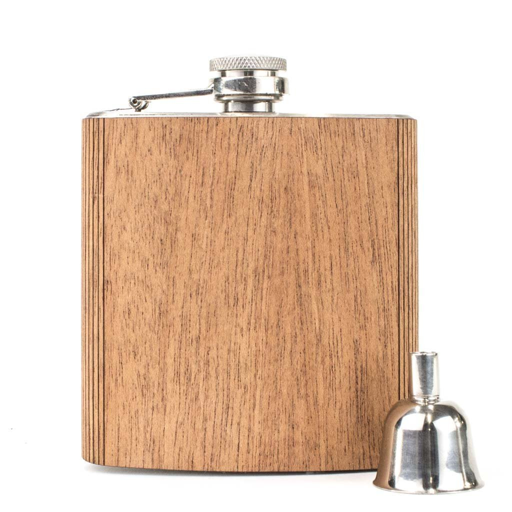 WOODCHUCK 6 oz. Wooden Flask (Mahogany) - 100% Premium Wood, Stainless Steel Body