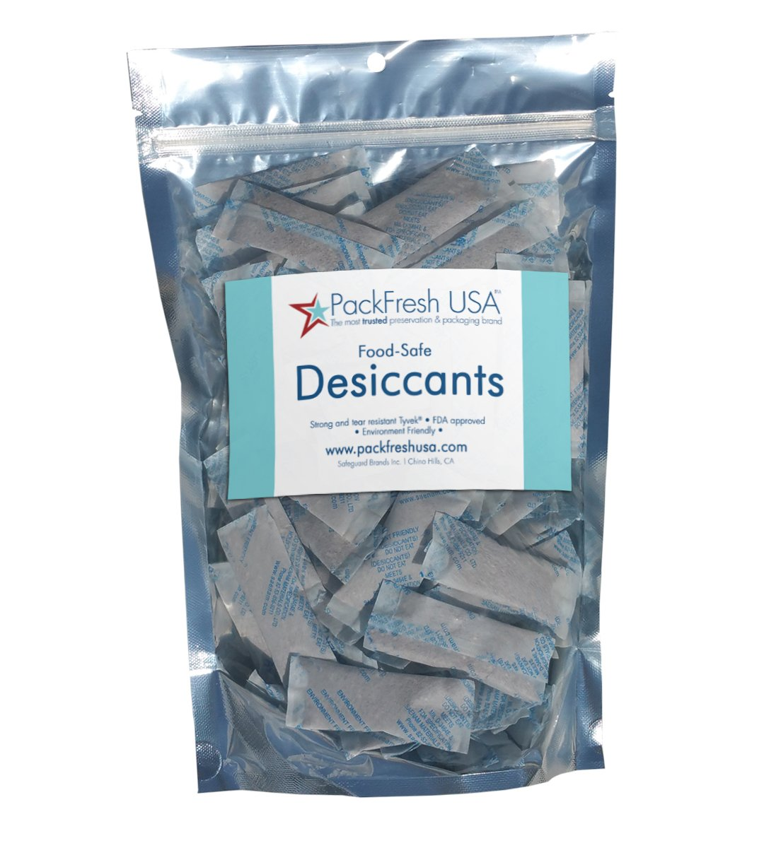 PackFreshUSA: 5 Gram Premium Food-Safe Desiccants - Non-Toxic - Reusable - Long-Term Storage - Moisture Absorber – 100 Pack
