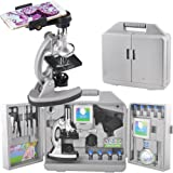 Gosky Kids Microscope Kit with Metal Arm and Base, 300 x 600x 1200x Magnifications, Includes 70pcs+ Accessory Set and Handy Storage Case- With Smartphone Adapter