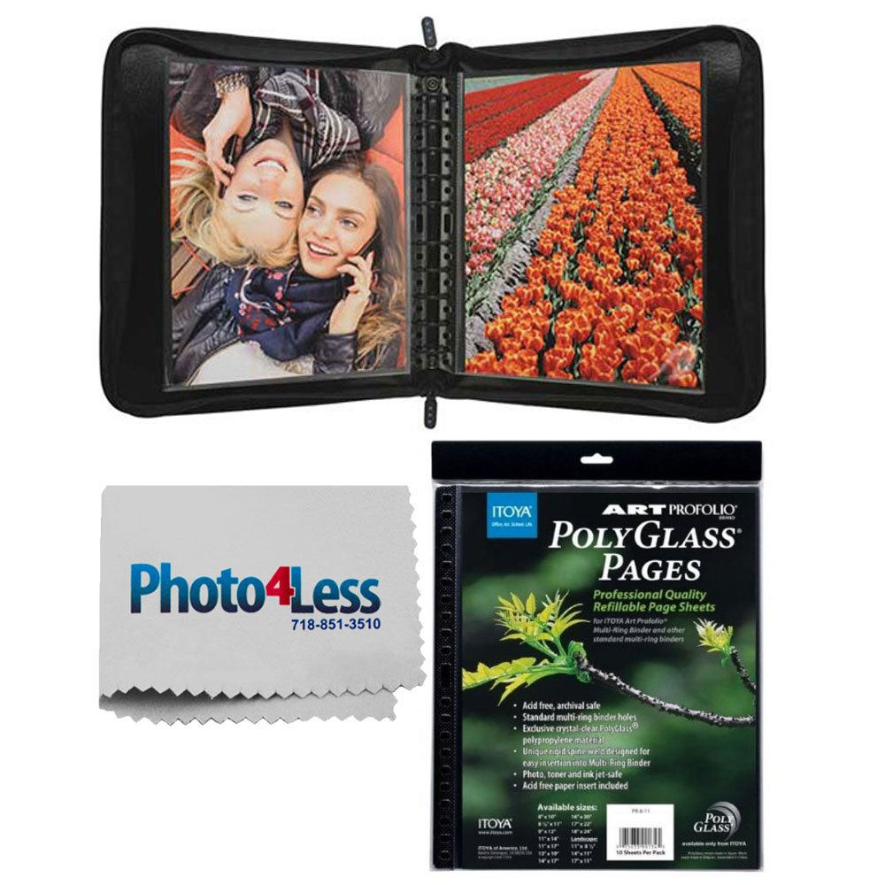 Itoya Zipper Portfolio Case with Multi-Ring Binder Includes 5 Polyglass Pocket Pages 11 x 14''+ Itoya Art Portfolio Polyglass Refill Pages 11 x 14'' + Cleaning Cloth + Deluxe Presentation Bundle by ITOYA