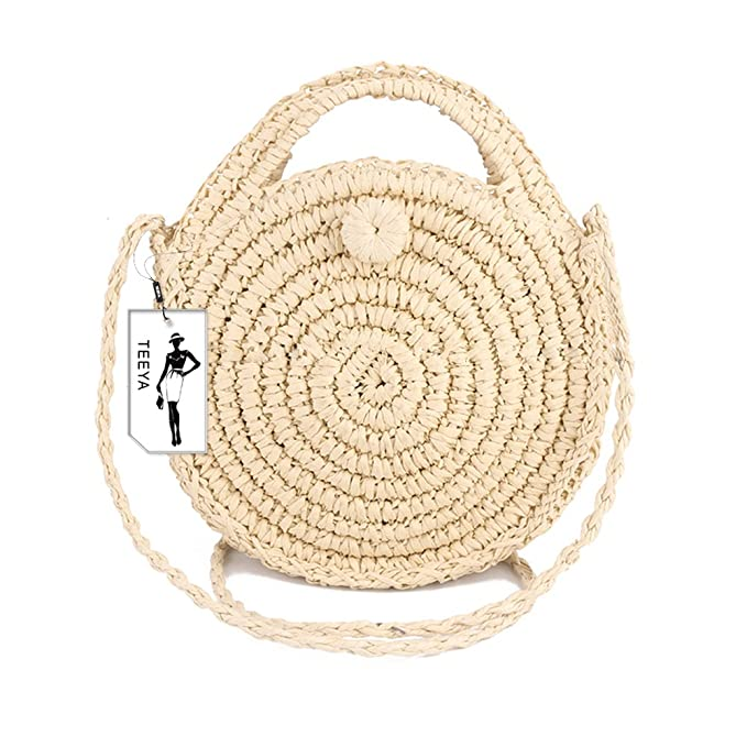 03a399820fa3 Image Unavailable. Image not available for. Color  Straw Crossbody Bag  Women Weave Shoulder Bag Round Summer Beach Purse and Handbags
