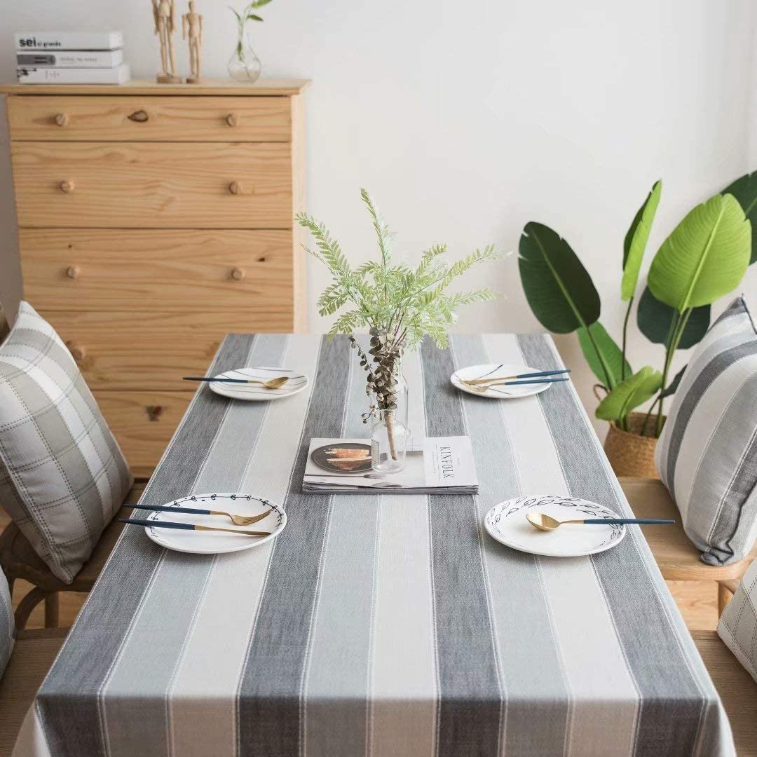 Shanglist Washable Striped Rectangle Tablecloth Rustic Tablecover for Kitchen Dinning Table,55x70