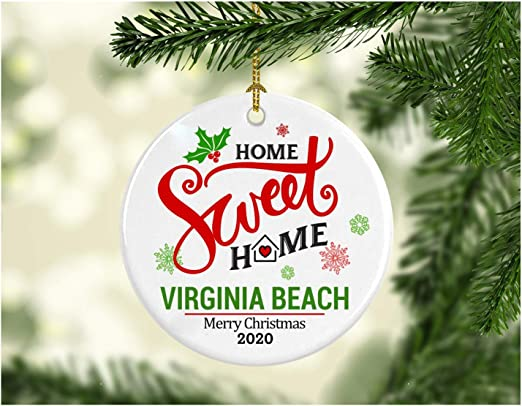 Where Is The Best Beach To Go On Christmas 2020 Amazon.com: Christmas Decoration Tree Ornament State   Home Sweet
