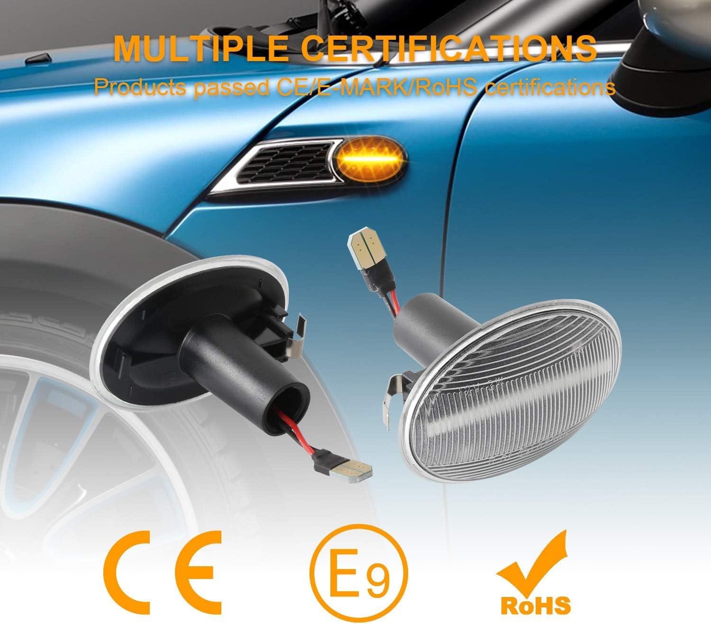 OZ-LAMPE Dynamischer Seitenblinker Blinker Flie/ßender Seitenblinker Klar F/ür BM-W MINI Cooper R55 Clubman R56 Hatch R57 Cabrio R58 Coupe R59 Roadster